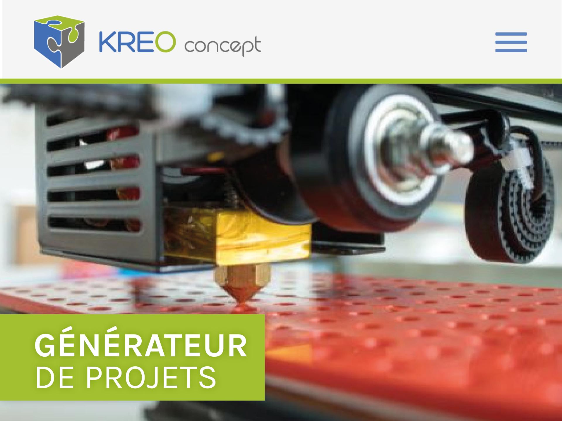Kreoconcept-site-web Un site one-page pour l'innovation - iStudio - Agence Web 360° à Cholet